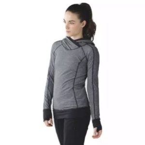 LULULEMON Black Striped Think Fast Hoodie